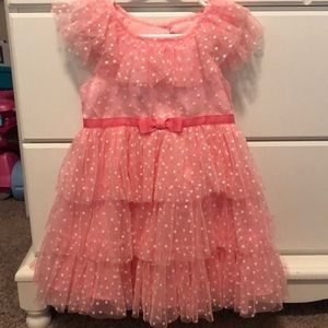 Pink polka dot ruffle dress